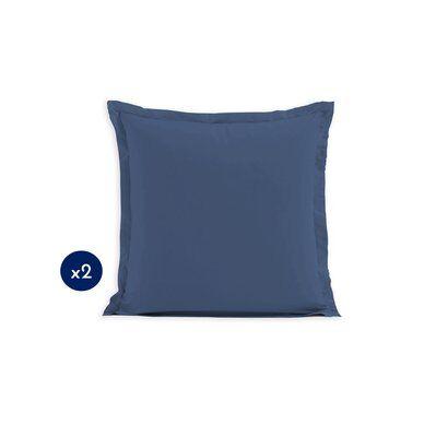 Home Linge Passion Lot de 2 taies carrées 100% coton - Bleu - 63x63 cm
