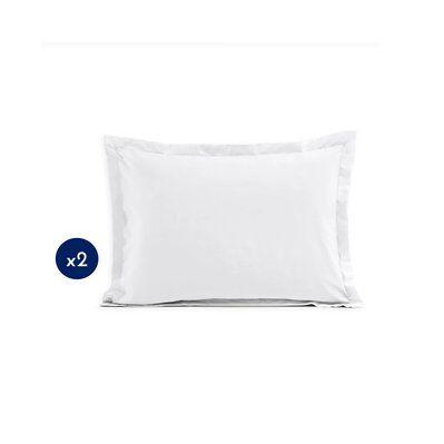Home Linge Passion Lot de 2 taies rectangulaires 100% coton - Blanc - 50x70 cm