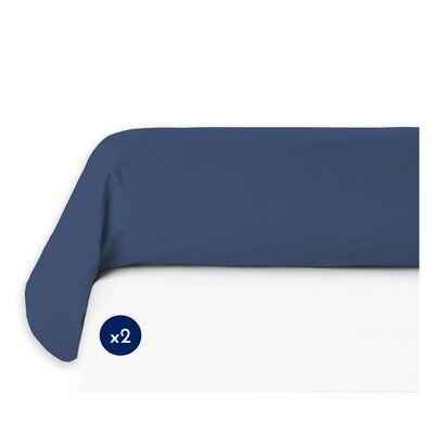Home Linge Passion Lot de 2 taies de traversin 100% coton - Bleu - 85x185 cm