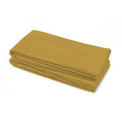 Le Clos Des Songes Drap plat uni 2 personnes - 100% lin lavé - Jaune - 240x300 cm