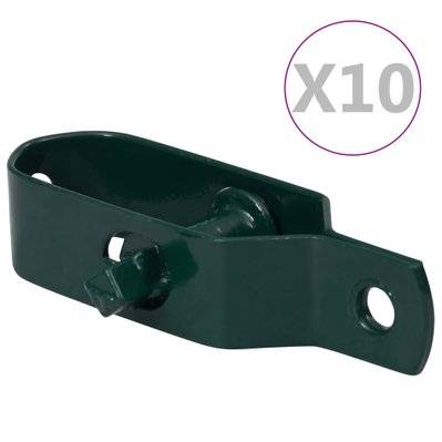 vidaXL Tendeurs de fil de clôture 10 pcs 100 mm Acier Vert