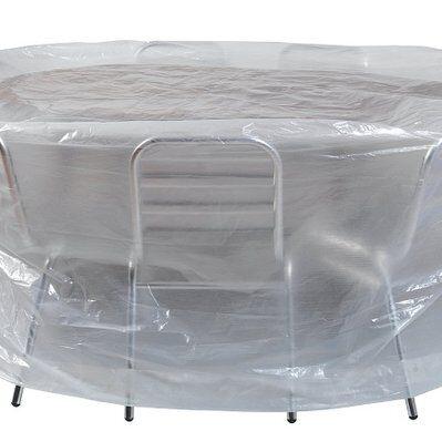 Ribimex Housse transparente Ribiland pour table ronde et chaises Ø200x80cm