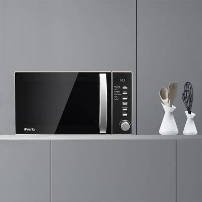 H.koenig Micro-ondes compact & digital - 700W - plaque Ø24,5 cm - 8 cuissons - noir & inox