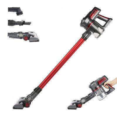 H.koenig Aspirateur balai 2 en 1 sans fil PowerClean - 22,2 V - 120W - 35 min - 2 vitesses - accessoires - rouge