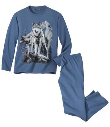 Atlas for Men Pyjama Imprimé Loups L bleu