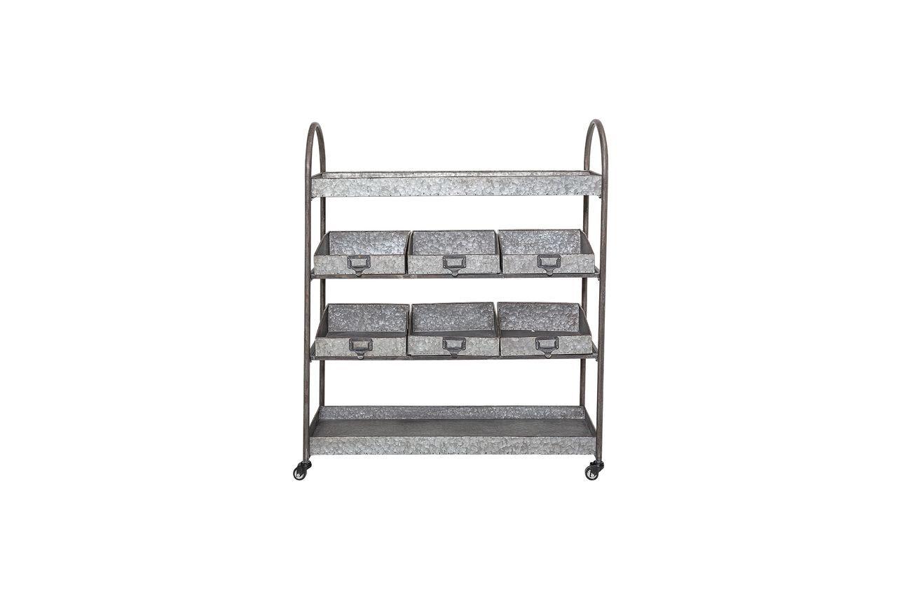 Bloomingville Etagères à tiroirs en métal gris Lafox