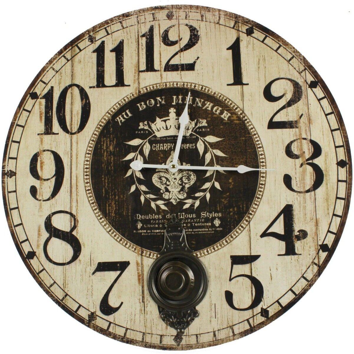 Horloge Ancienne Balancier Au Bon Ménage 58cm - Bois - Blanc