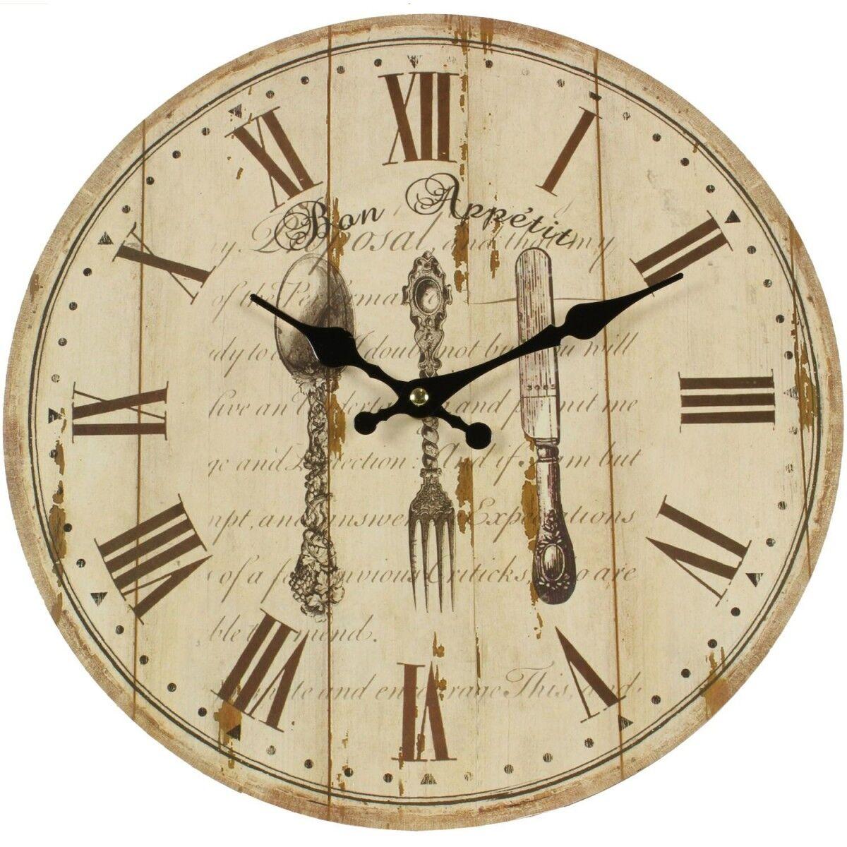 Horloge Ancienne Murale Bon Appétit 34cm - Bois - Blanc