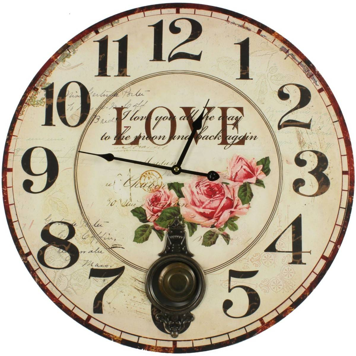 Horloge Ancienne Balancier Love 58cm - Bois - Blanc