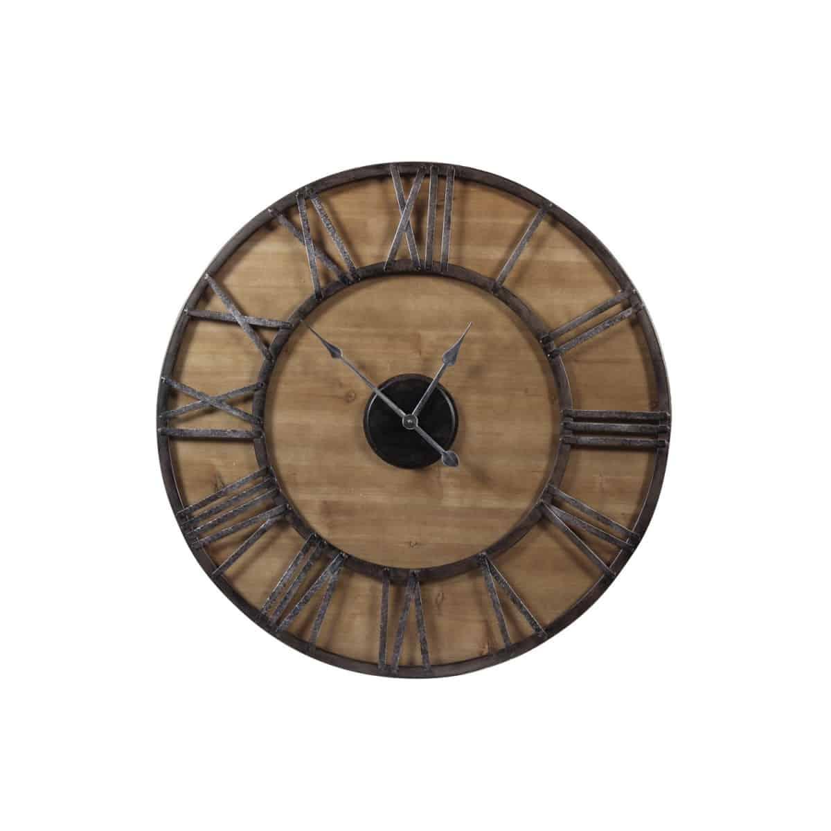 Grande Horloge Ancienne Fer Forgé Bois 80cm - Noir