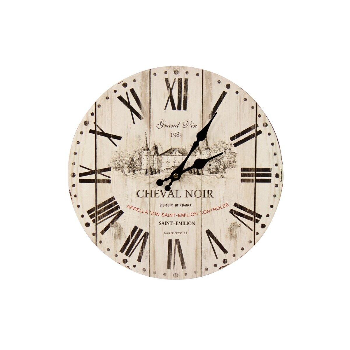 Horloge Ancienne Murale Grand Vin Cheval Noir Blanc 34cm - Bois