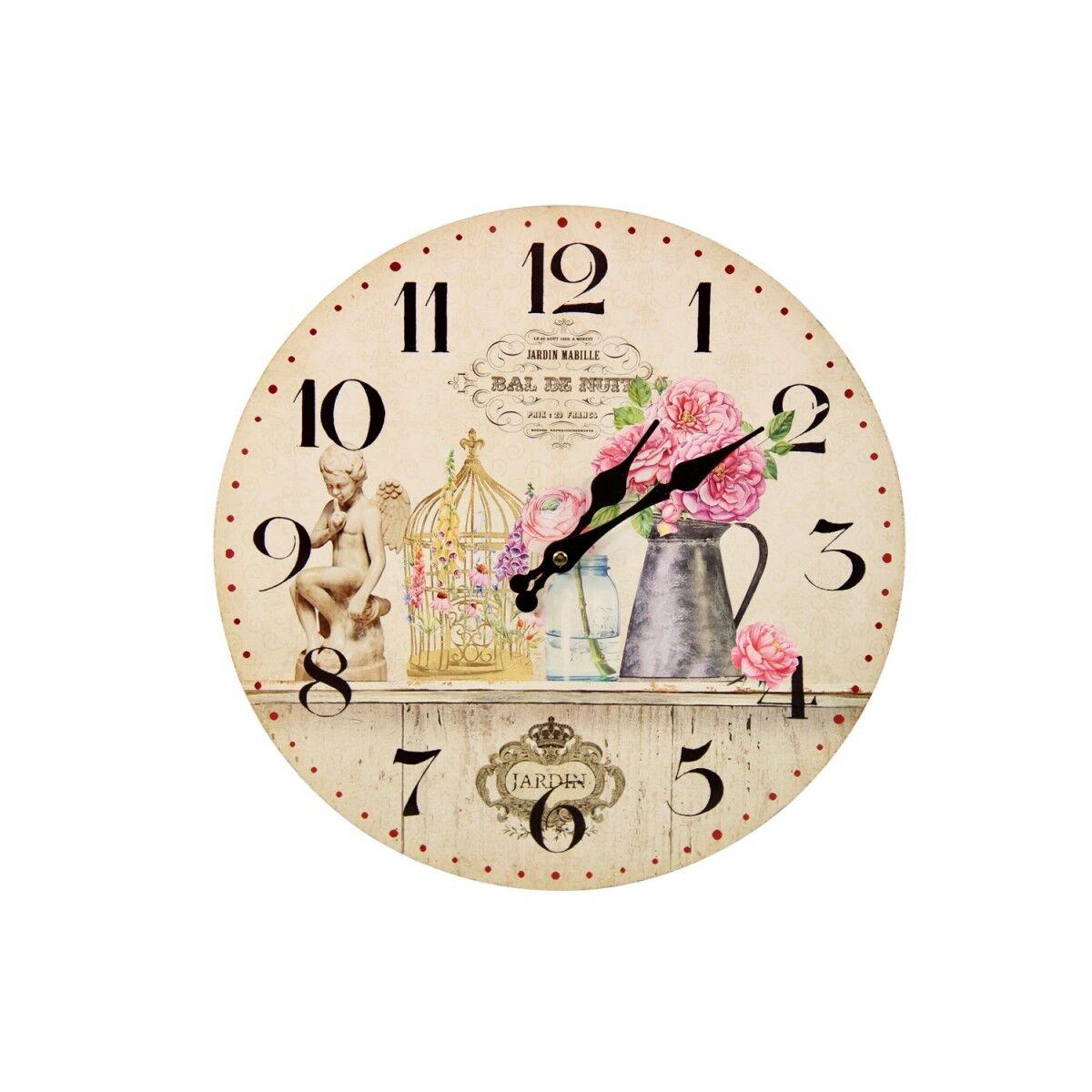 Horloge Ancienne Murale Vase Rose 34cm - Bois - Blanc