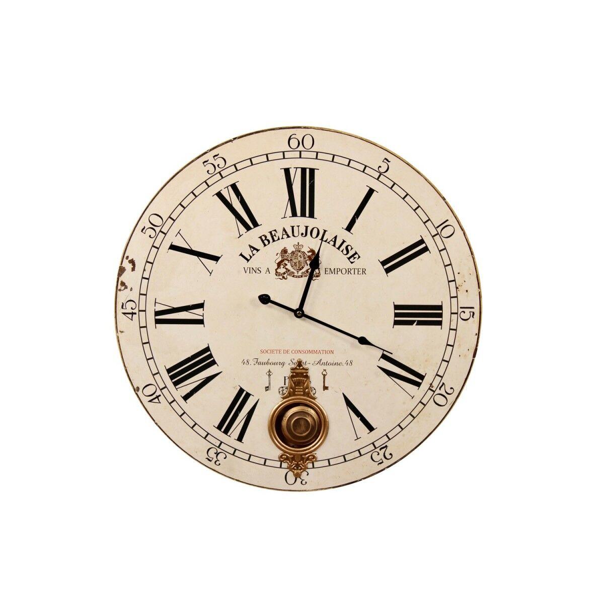 Horloge Ancienne Balancier La Beaujolaise 58cm - Bois - Blanc