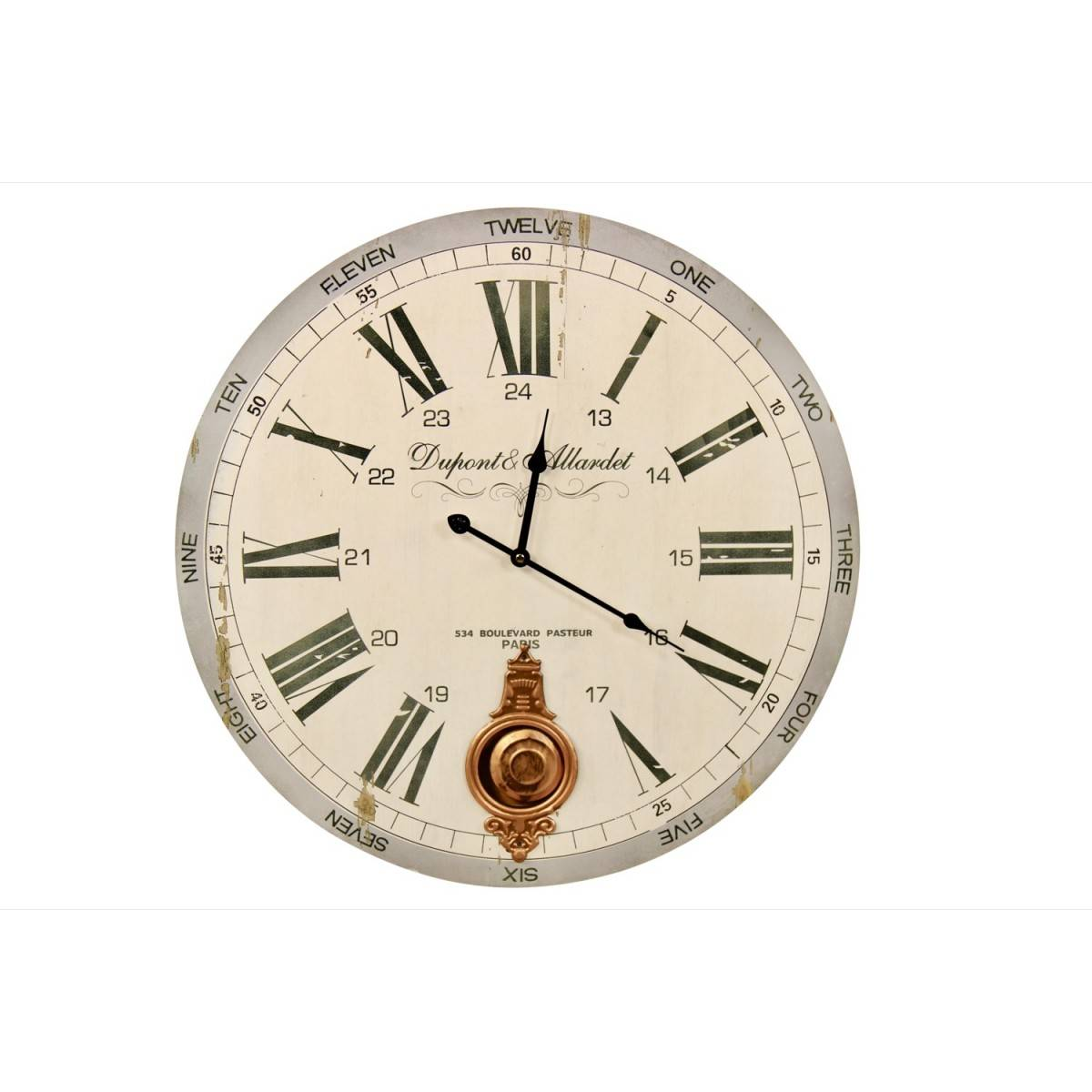 Horloge Ancienne Balancier Dupont & Allardet Blanc 58cm - Bois