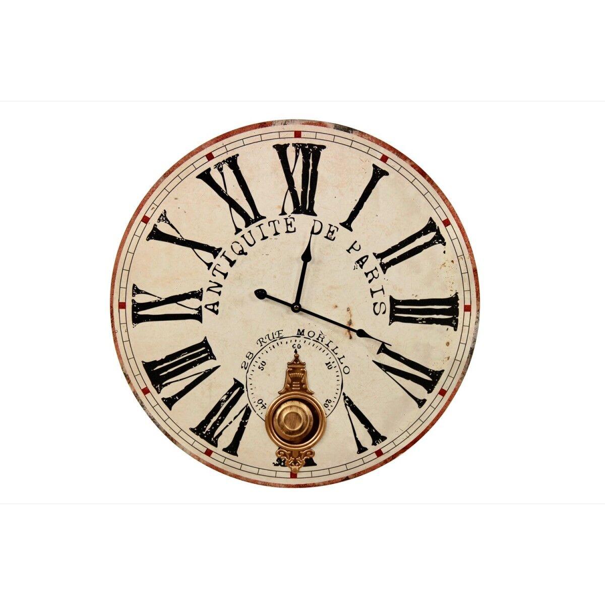 Horloge Ancienne Balancier Antiquité de Paris 58cm - Bois - Blanc