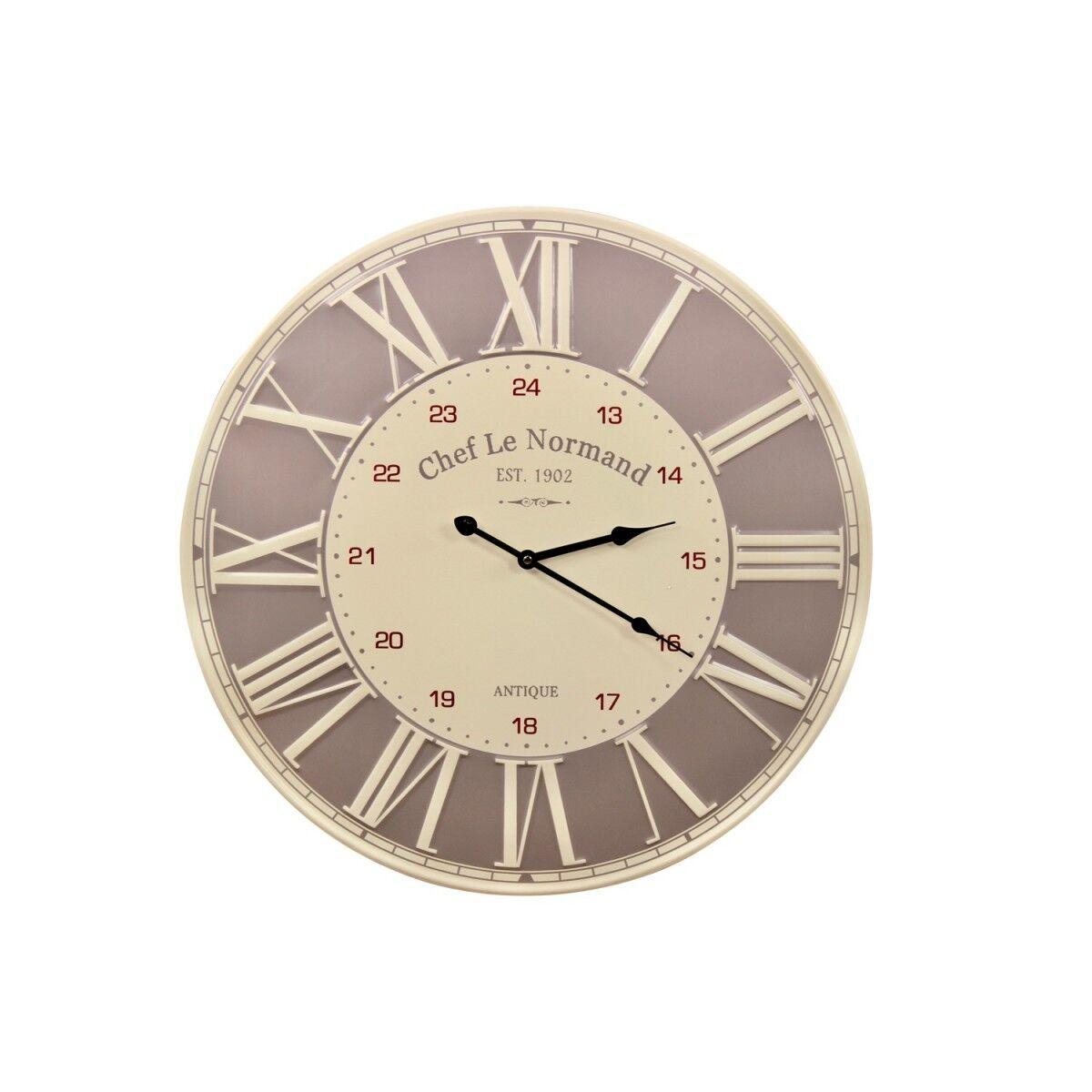Horloge Ancienne Metal Chef Le Normand 58cm - Métal - Blanc