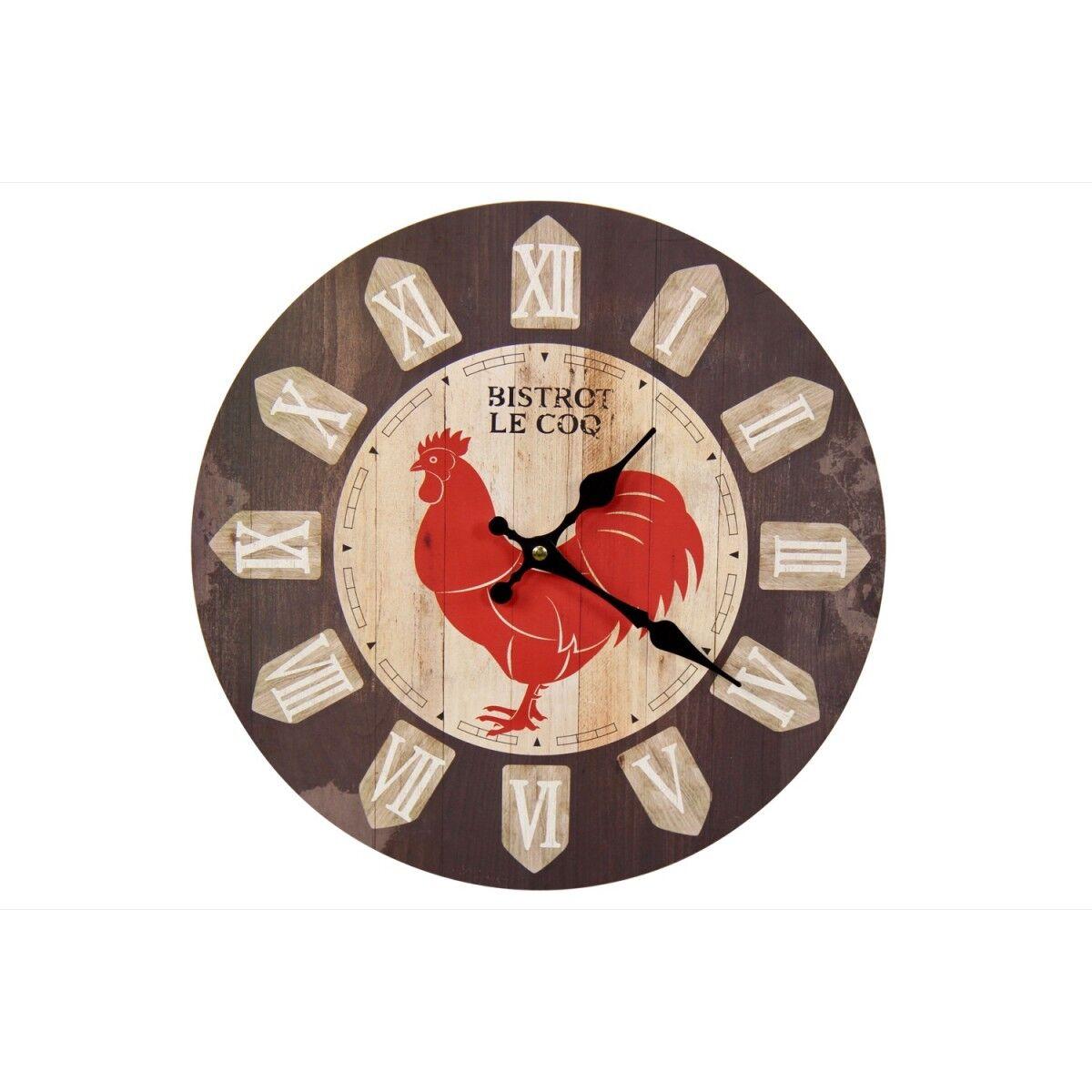 Horloge Ancienne Murale Bistrot le Coq 34cm - Bois - Marron