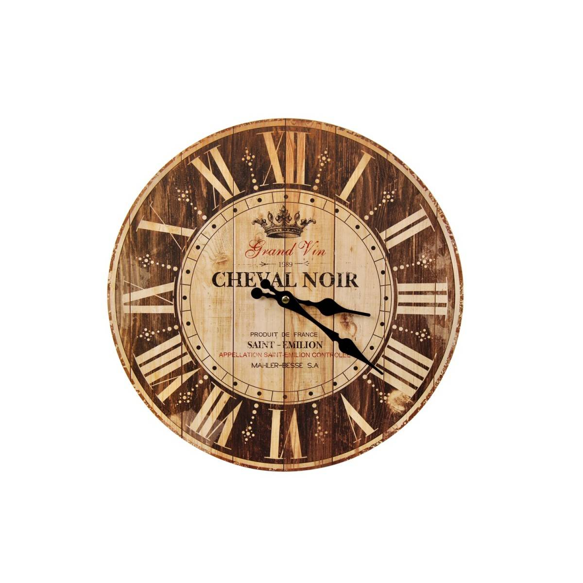 Horloge Ancienne Murale Grand Vin Cheval Noir Marron 34cm - Bois