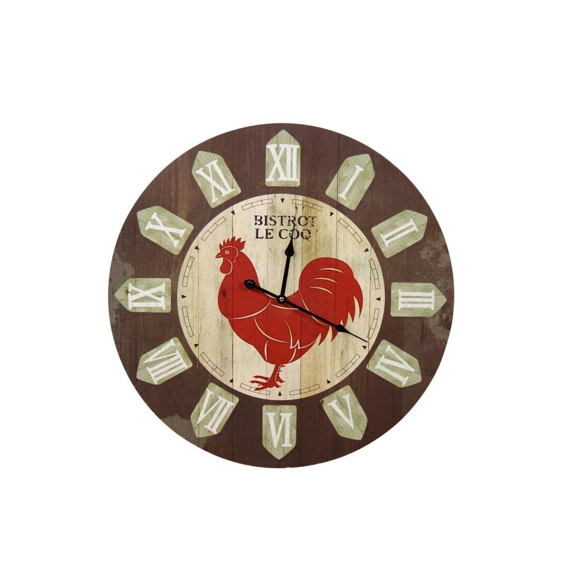 Horloge Ancienne Murale Bistrot le Coq 58cm - Bois - Marron