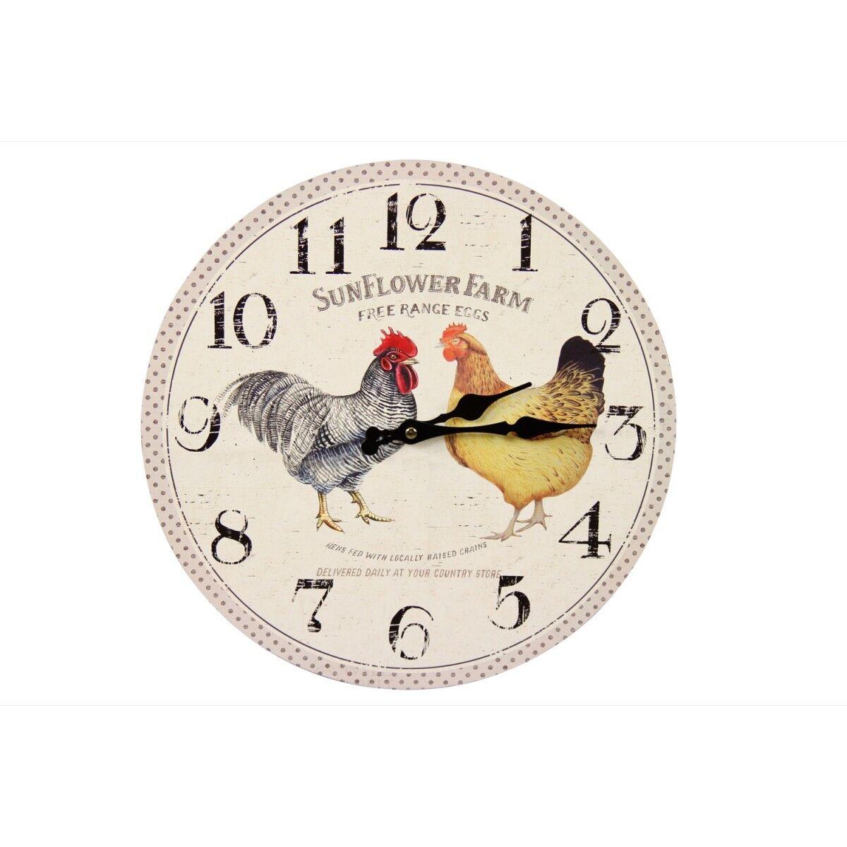 Horloge Ancienne Murale Coq et Poule 34cm - Bois - Blanc