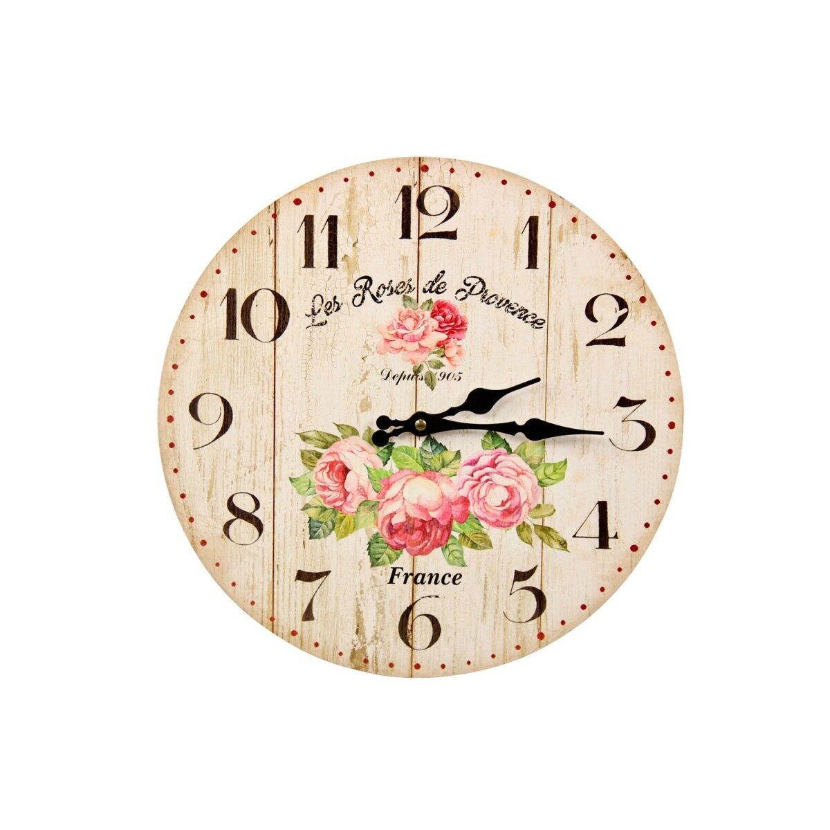 Horloge Ancienne Murale Les Roses de Provence 34cm - Bois - Blanc