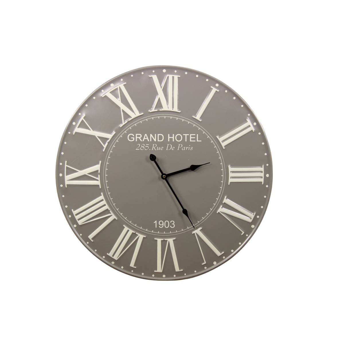 Horloge Ancienne Metal Grand Hotel 58cm - Métal - Gris