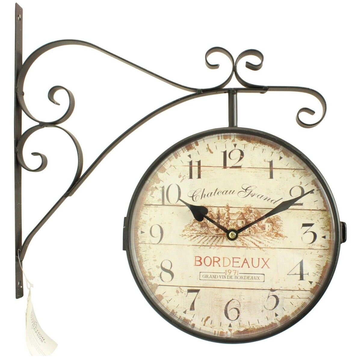 Horloge De Gare Ancienne Double Face Château Grand Bordeaux 24cm - Fer Forgé - Blanc