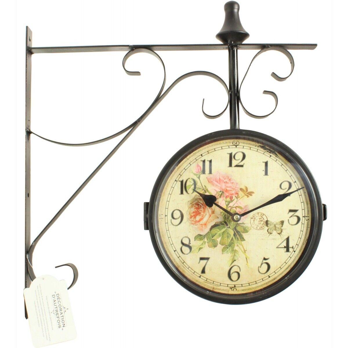 Horloge De Gare Ancienne Double Face Bouquet De Roses 24cm - Fer Forgé - Blanc