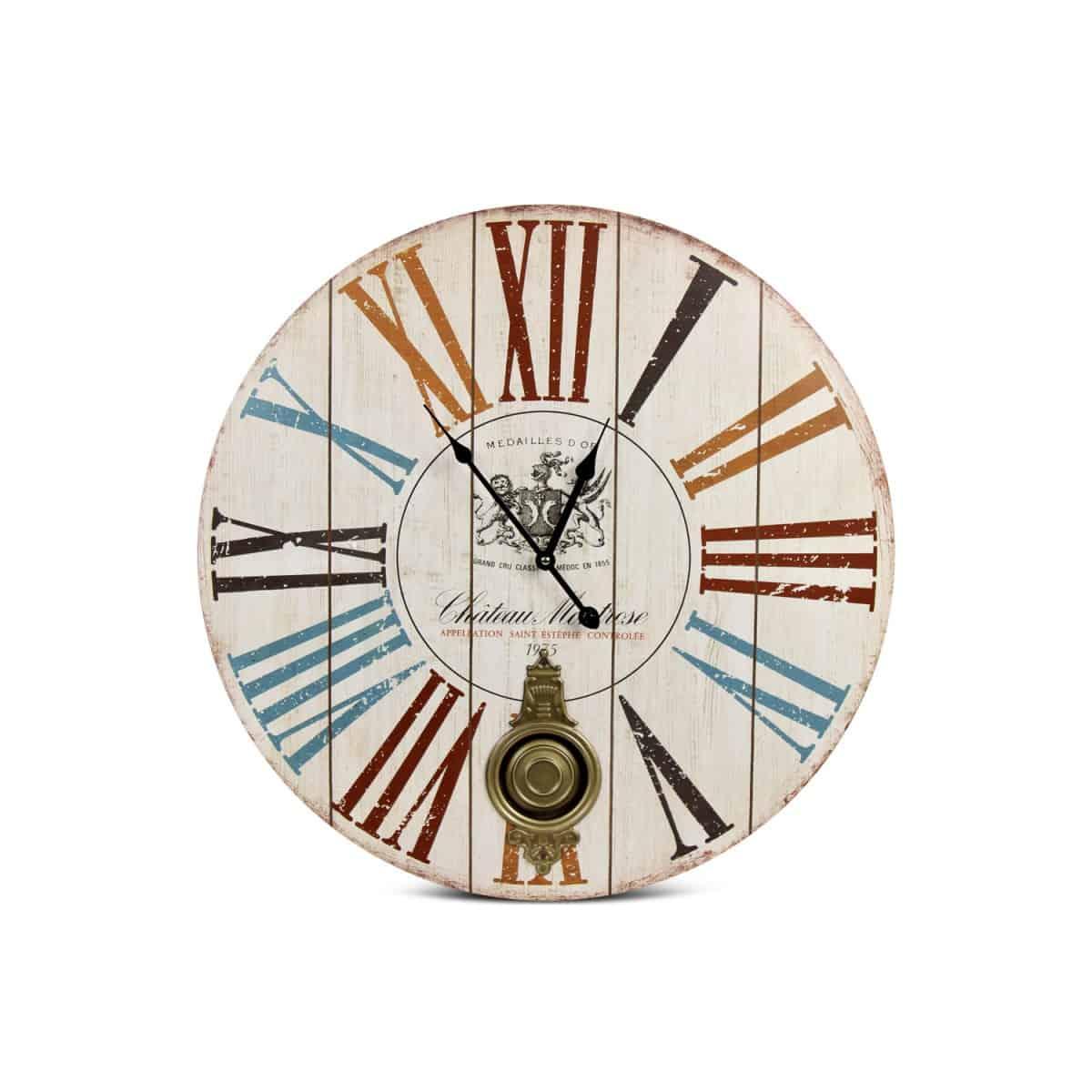 Horloge Ancienne Balancier Château Montrose Bois Blanc 58cm - Multicolore