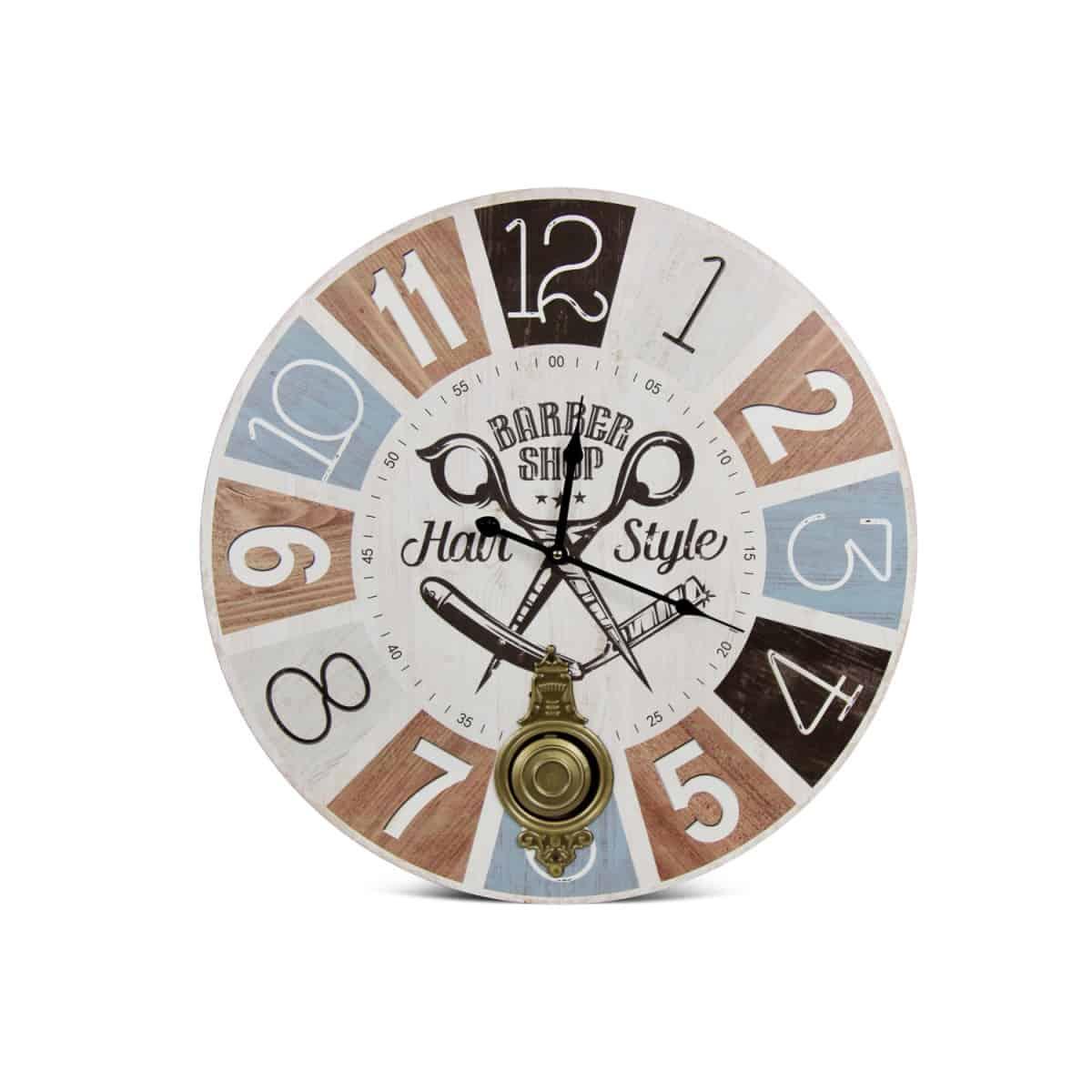 Horloge Ancienne Balancier Barber Shop Hair Style Bois Blanc 58cm - Multicolore