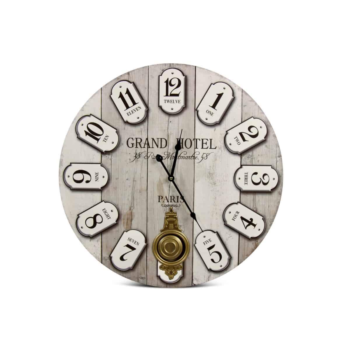 Horloge Ancienne Balancier Grand Hôtel Montmartre Bois Blanc 58cm - Gris