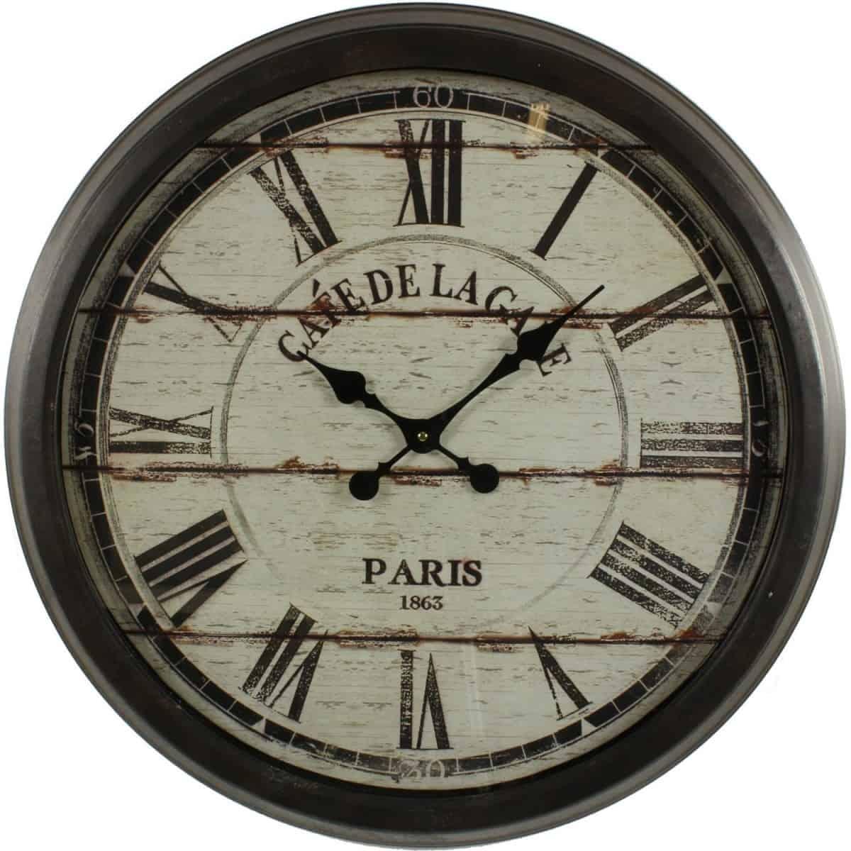 Grande Horloge Ancienne Murale Café De La Gare 70cm - Fer - Noir