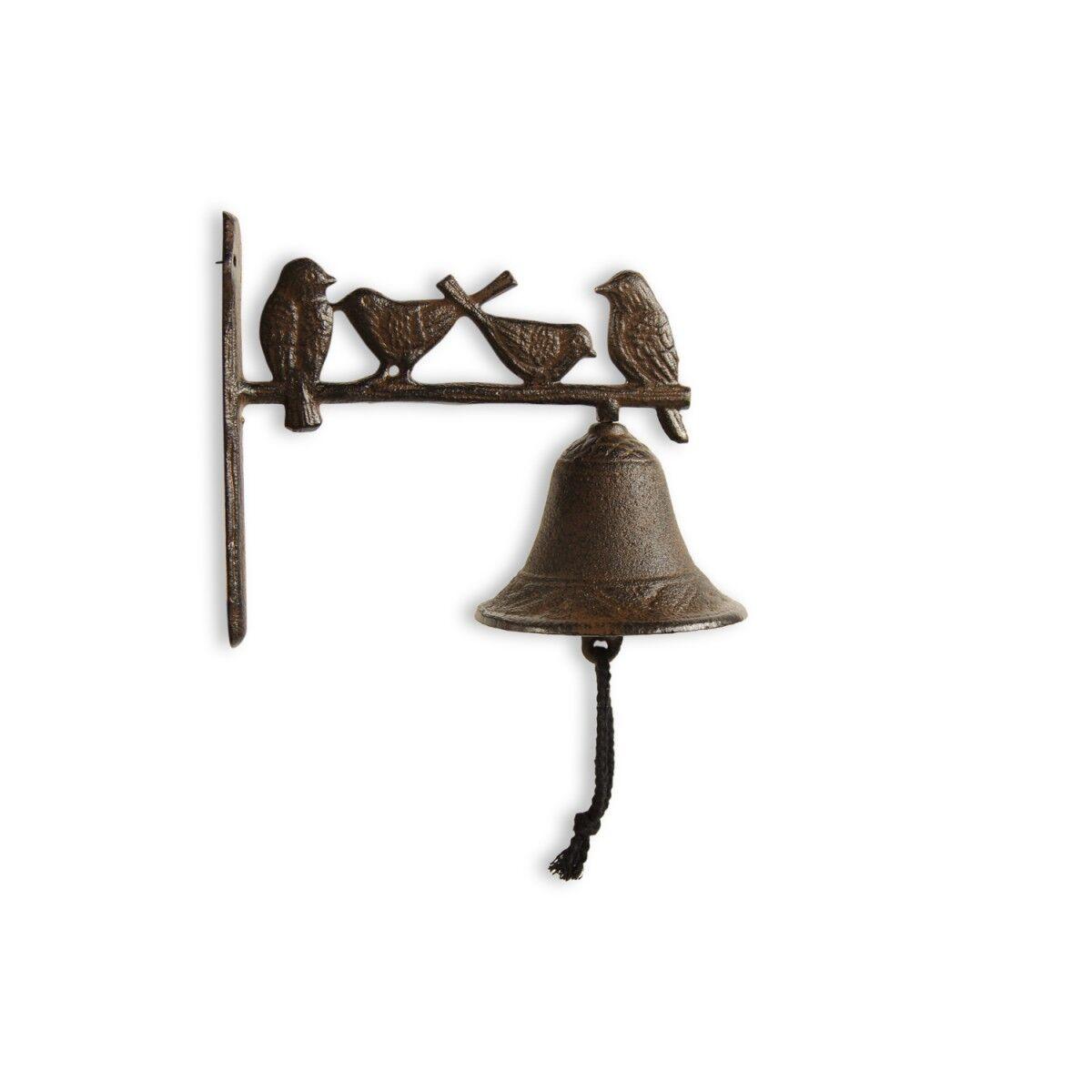 Cloche Oiseaux Fonte Marron 21.5x11.5x19.5cm