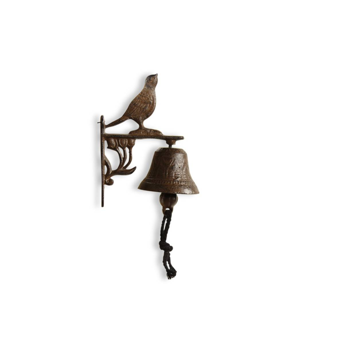 Cloche Oiseau Fonte Marron 12x7.5x17cm