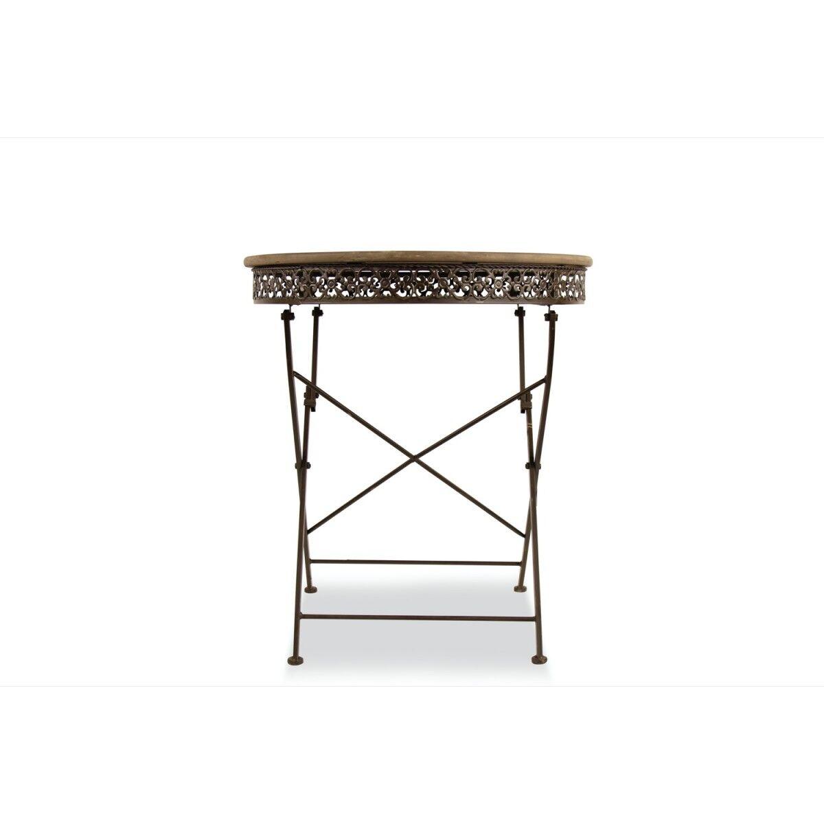 Décoration d'fois Table Ronde Bois Fer Forgé Marron 71.5x71.5x78.5cm