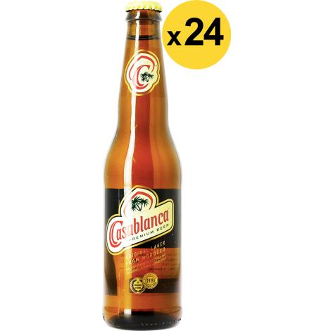 Brasseries du Maroc Big Pack Casablanca - 24 Bières - Bouteilles De Bière 33 Cl - Brasseries Du Maroc - Saveur Bière