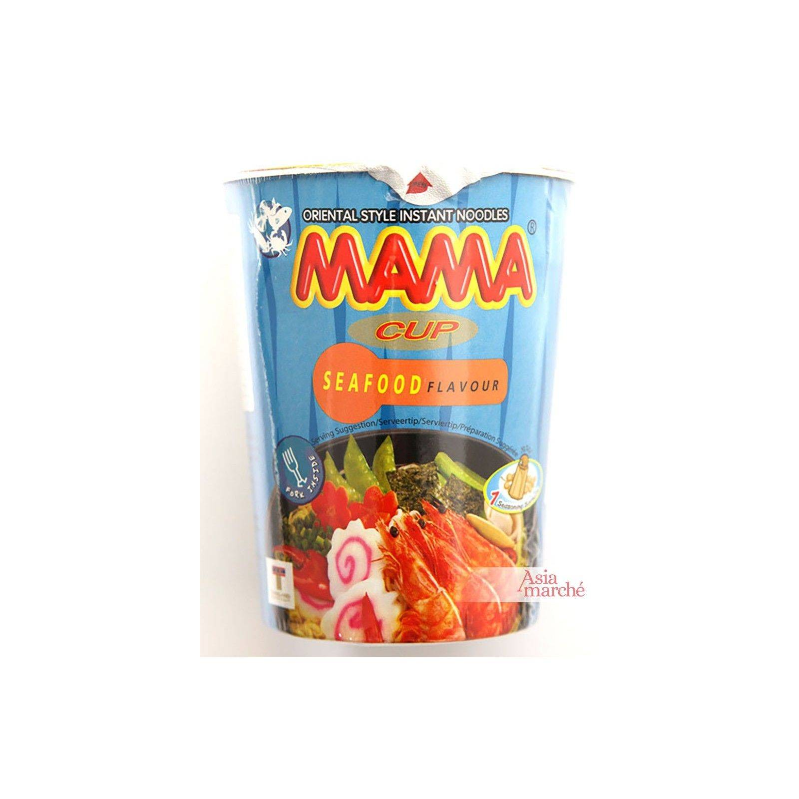 Asia Marché Soupe de nouilles aux fruits de mer en bol de 70g Mama