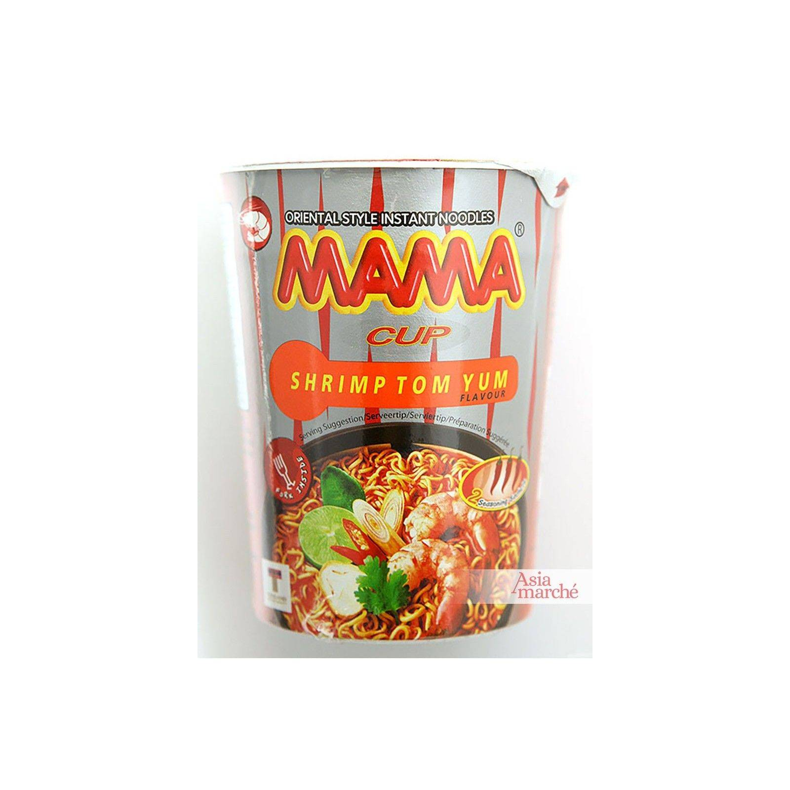 Asia Marché Soupe piquante de nouilles à la crevette Tom Yum en bol de 70g Mama