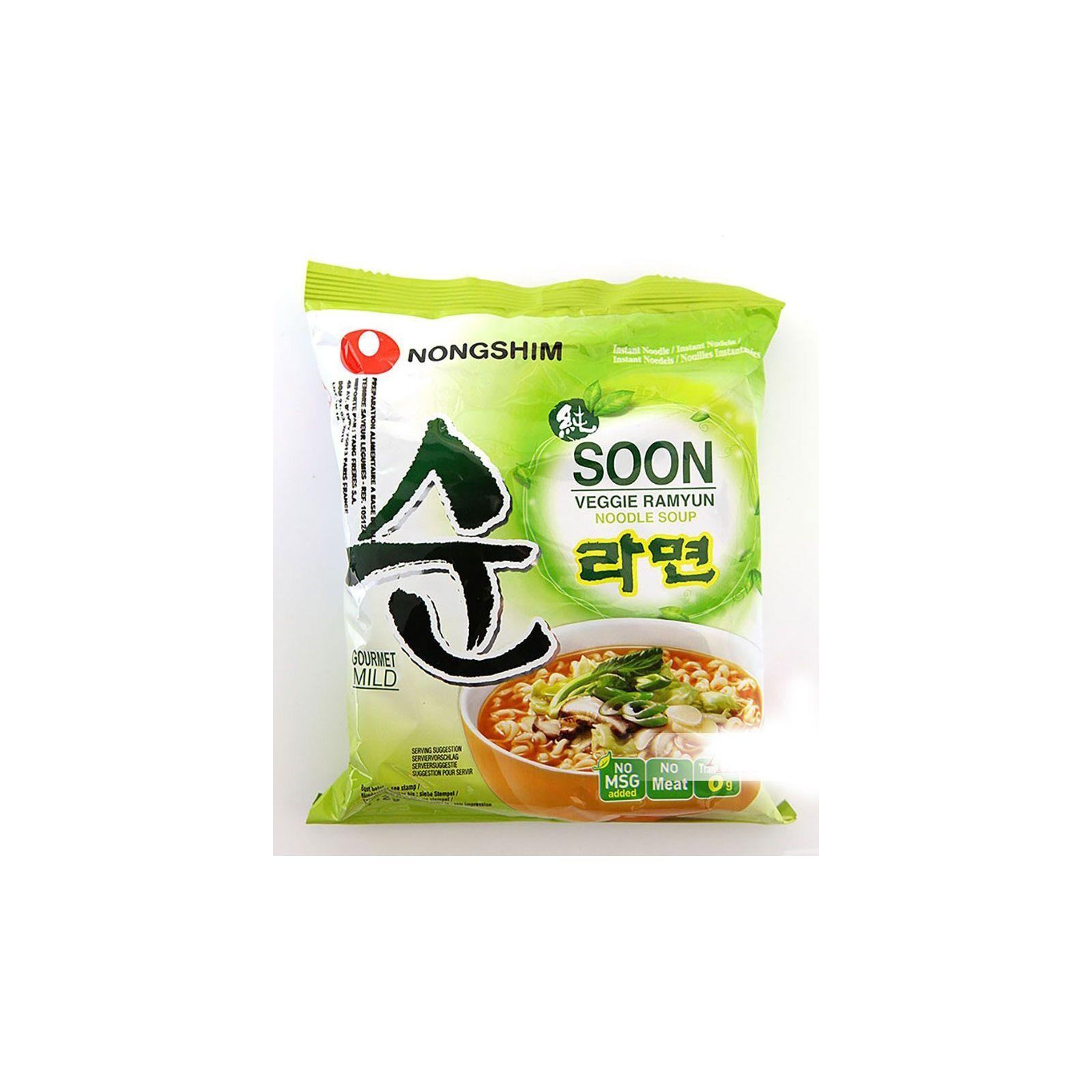 Asia Marché Soupe de nouilles SOON Végan 112g Nongshim Lot de 30