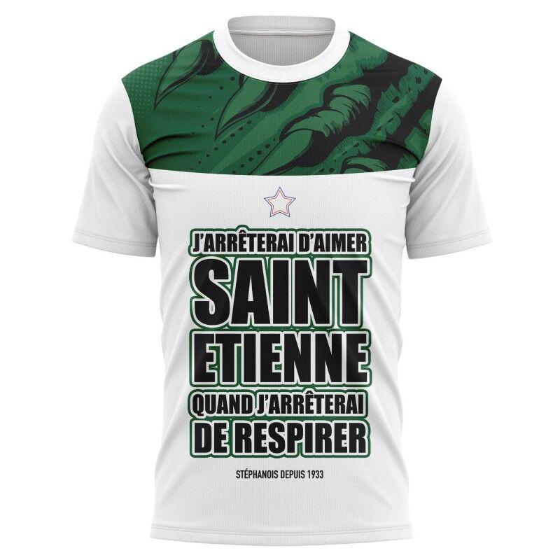 Tribune FC T-shirt J\'arrêterai d\'aimer Saint Etienne quand j\'arrêterai de respirer - Supporters Saint Etienne - Tribune FC