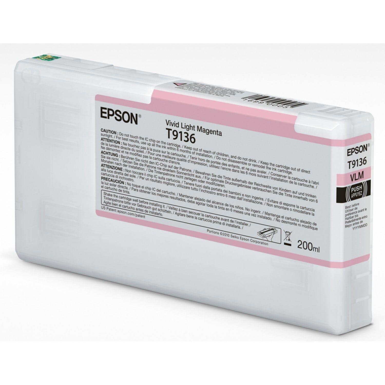 EPSON Cartouche d'encre traceur EPSON SC-P5000 - Magenta Vivid Clair - 200ml - T9136