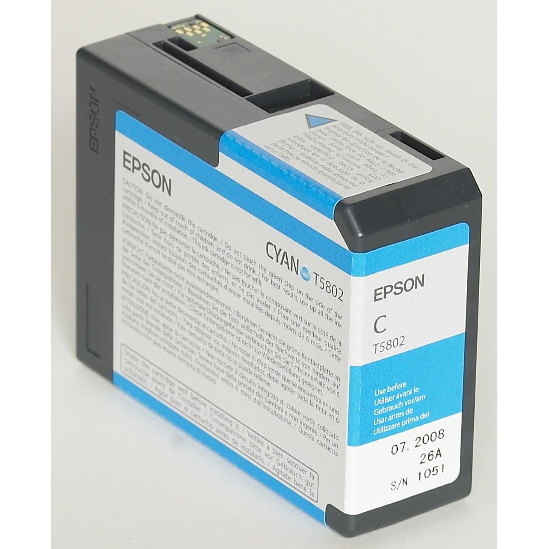 EPSON Cartouche d'encre traceur EPSON T5802 Pour imprimante 3800/3880 Cyan - 80ml