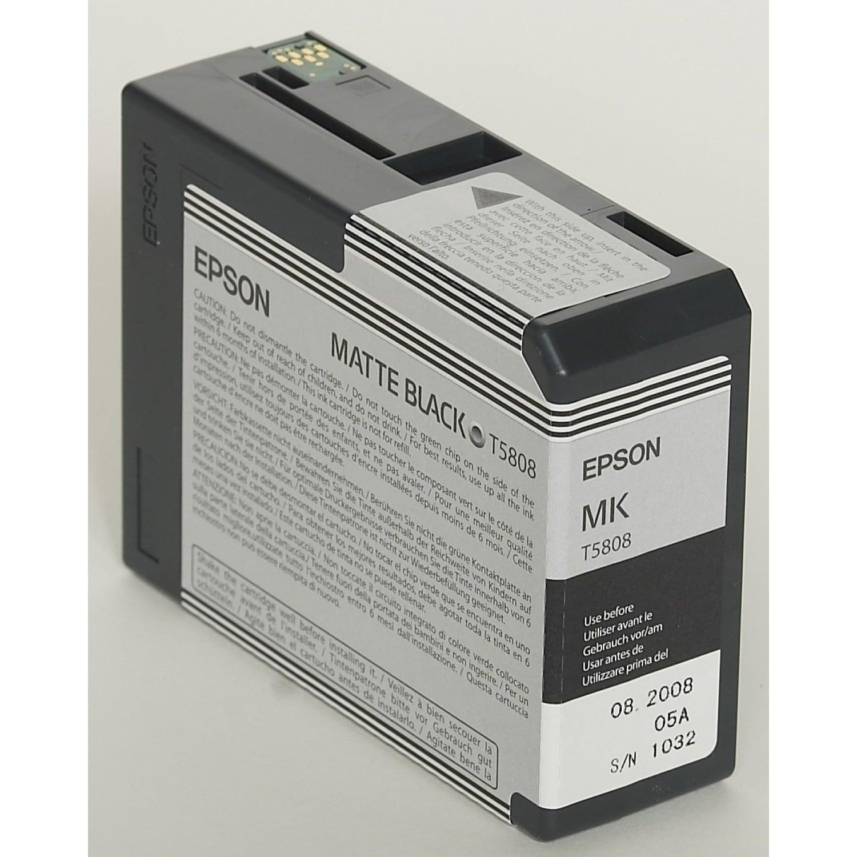 EPSON Cartouche d'encre traceur EPSON T5808 Pour imprimante 3800/3880 Noir mat - 80 ml