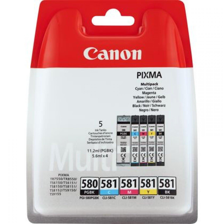 CANON Cartouche d'encre CANON Pixma - PGI-580 PGBK / CLI-581 BK/C/M/Y - Multipack de 5 encres (Noir pigmenté, Cyan, Magenta, Jaune, Noir)