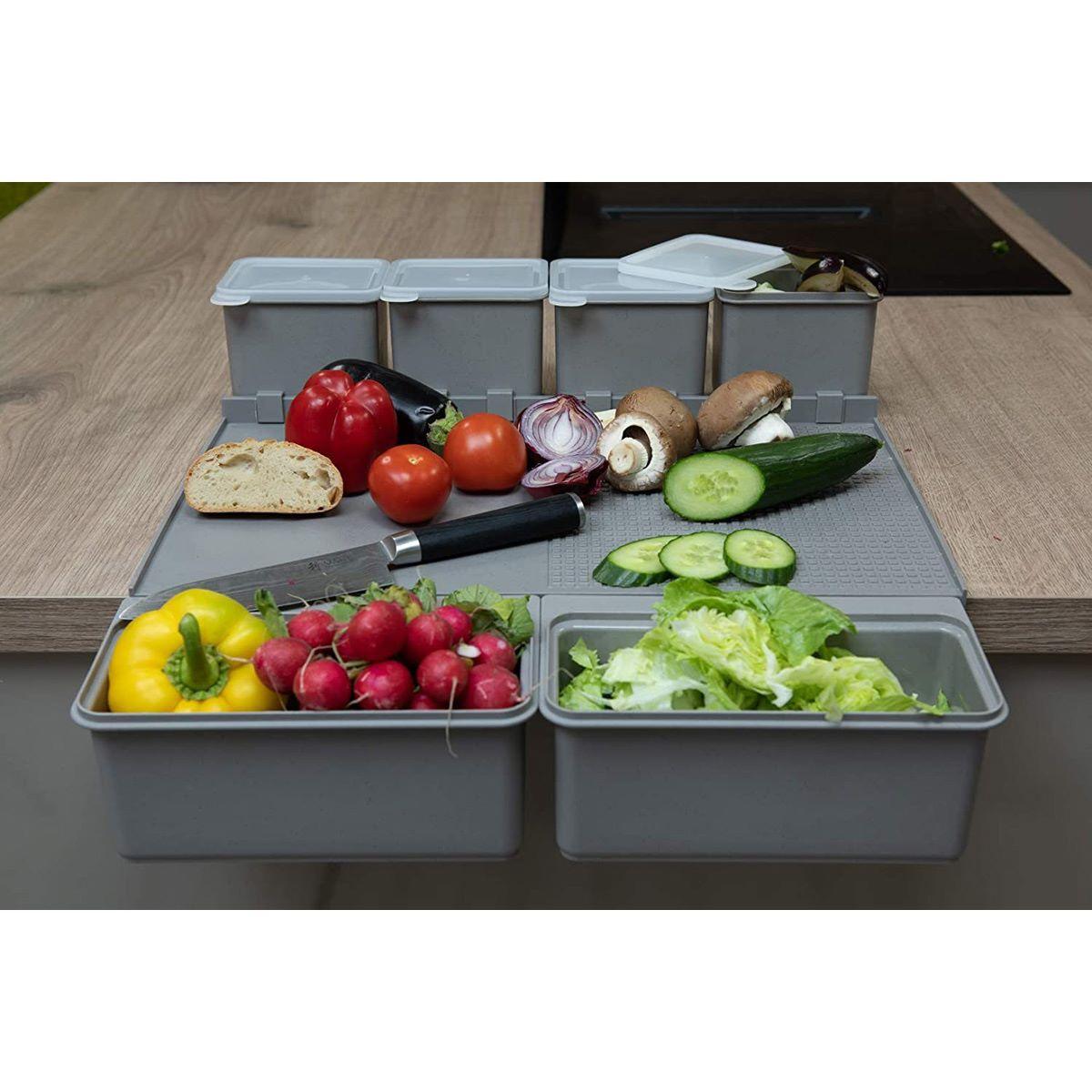 KIT-BO Planche à découper grise pour barbecue et camping avec 4 gobelets et 2 bacs -