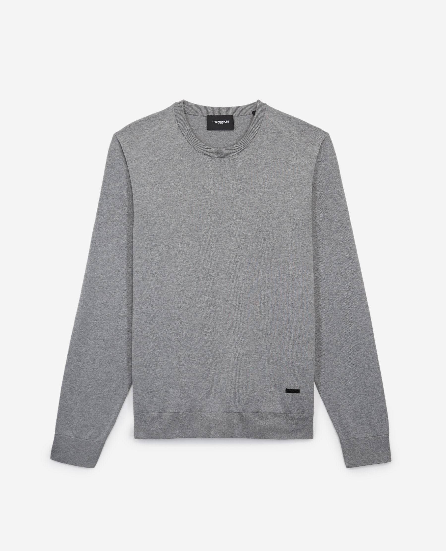 The Kooples - Pull coton gris clair col rond - HOMME XL