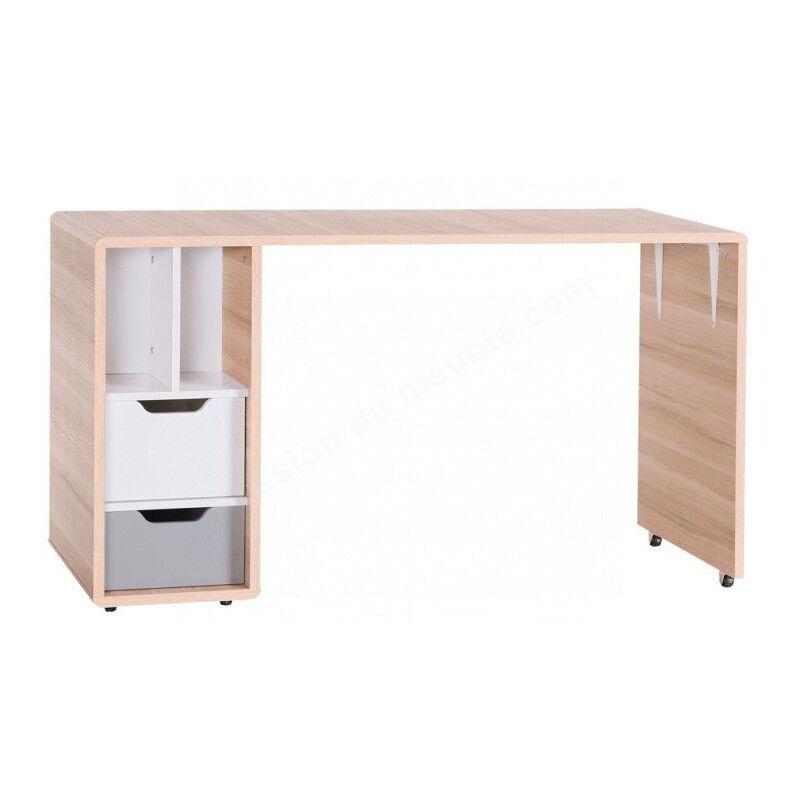 Vox Bureau enfant en bois melamine, 2 tiroirs,, niches, roulette, Gamme Sintra