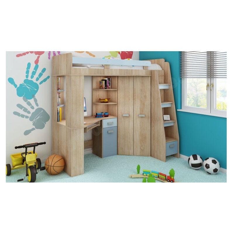 CRDIS Lit mezzanine enfant en bois, espace bureau et rangements, 1 échelle, Gamme Gramsh Chêne et blanc