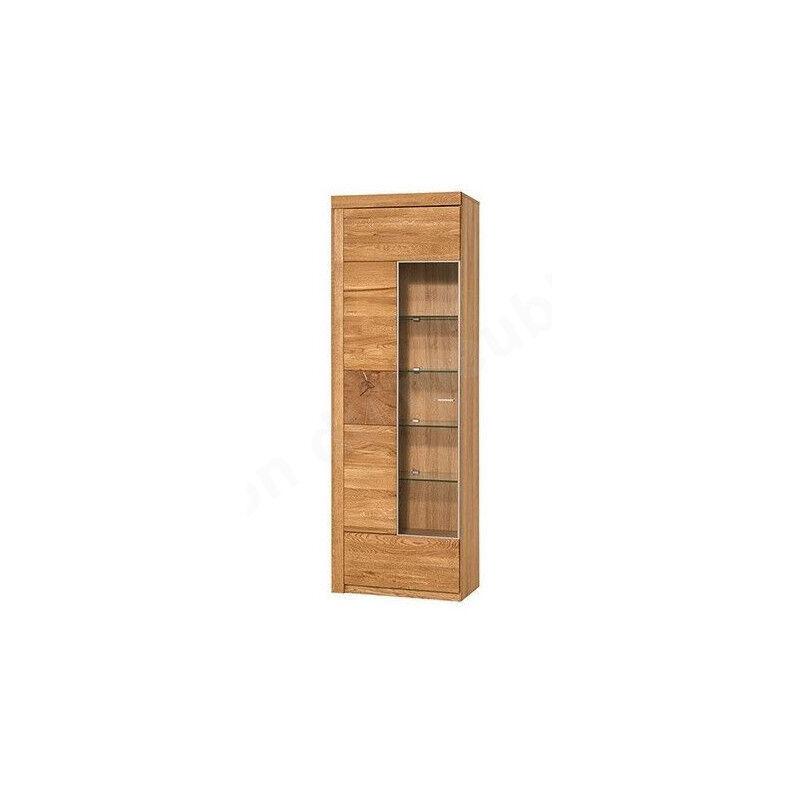 CRDIS Vaisselier en placage chene ouverture, droite,, porte vitree,, etageres, Gamme Palerme