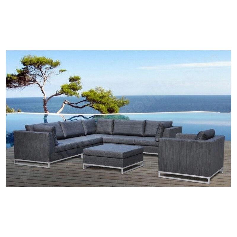 CRDIS Salon bas de jardin en aluminium, 7 places, 1 canapé d'angle, 1 fauteuil, 1 table basse, Gamme Coco